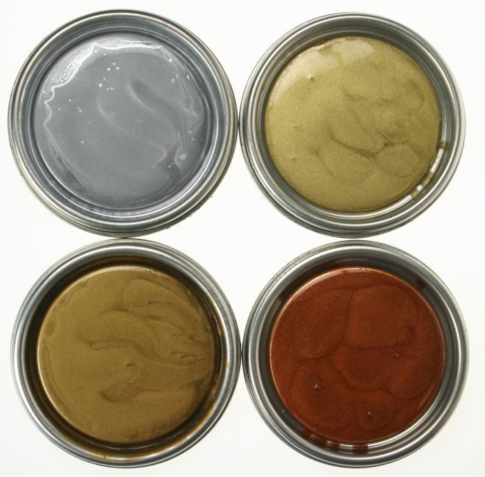Studio Finish Molten Metallics Paint In Six Colors Gold Bronze Silver Copper Gun Smoke And