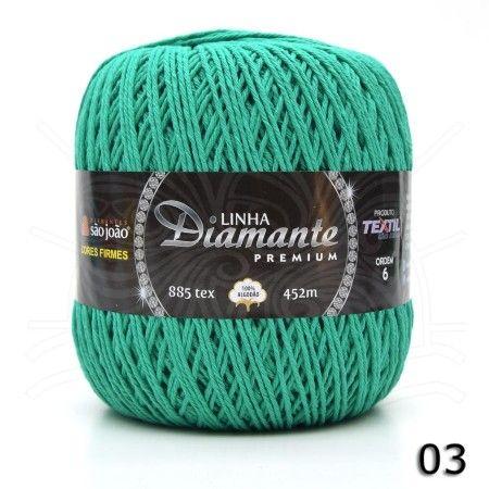Barbante Diamante Premium nº06 400g na cor Verde Água N°03.