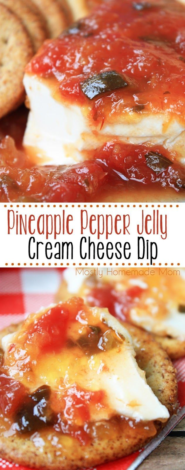 Pineapple Pepper Jelly Cream Cheese Dip - Pineapple preserves and salsa over a block of cream cheese and some great crackers. Instant summer party food! AD