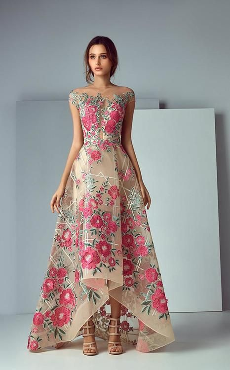 7821dd641b38 Saiid Kobeisy - 3183 Illusion Bateau Embroidered High Low Evening Gown  (tulle brodee, plunging lining cap sleeves, floral embroidered, full back,  ...