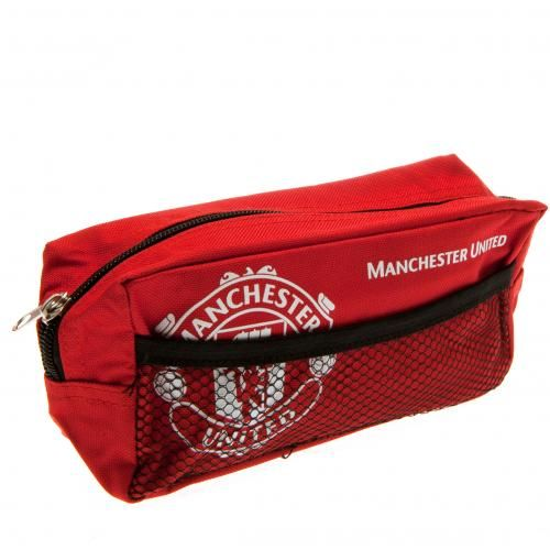 Large nylon Manchester United pencil case with mesh pocket on the side. In club colours and featuring the club crest on the front. FREE DELIVERY on all of our football gifts.