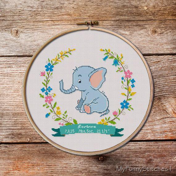 Customisable Birth Announcement Cross Stitch Pattern
