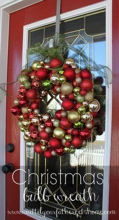 DIY your Christmas wreath this year and make a Christmas bulb wreath using shatterproof bulbs via www.waittilyourfathergetshome.com #Flor...