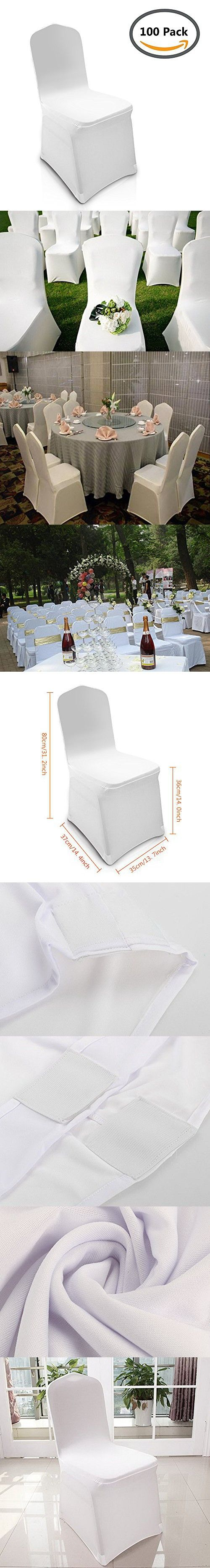 Homdox universal 100pcs White Chair Covers Spandex/Lycra Metal & Plastic Folding Decoration For Wedding, Banquet, Party