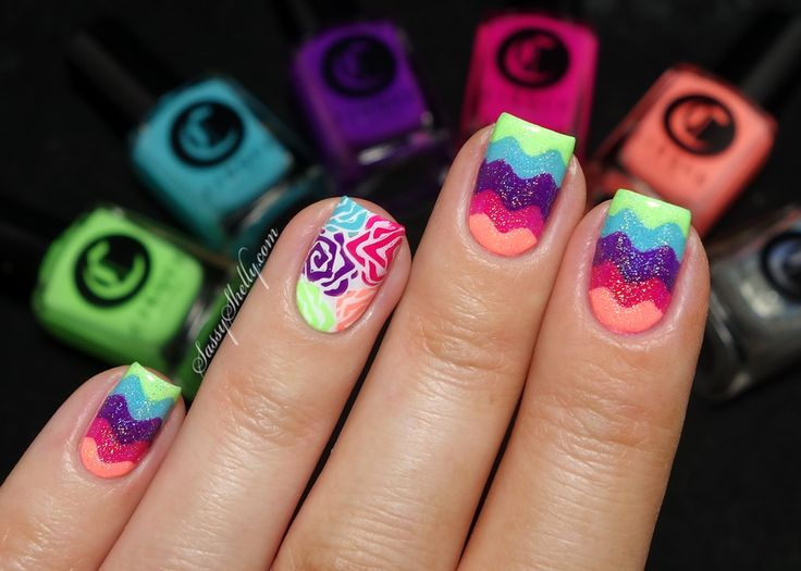 Cirque Vice Collection - wavy chevrons with advanced stamping and a Rainbow Nail Vinyl Nail Art Tutorial!   Sassy Shelly