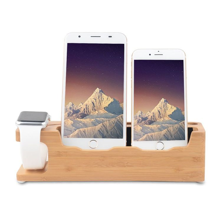 Apple Watch Wood Stand With 3 in 1 Desktop Charging Dock Station for Apple Watch and All iPhone Compatible with Nightstand Mode
