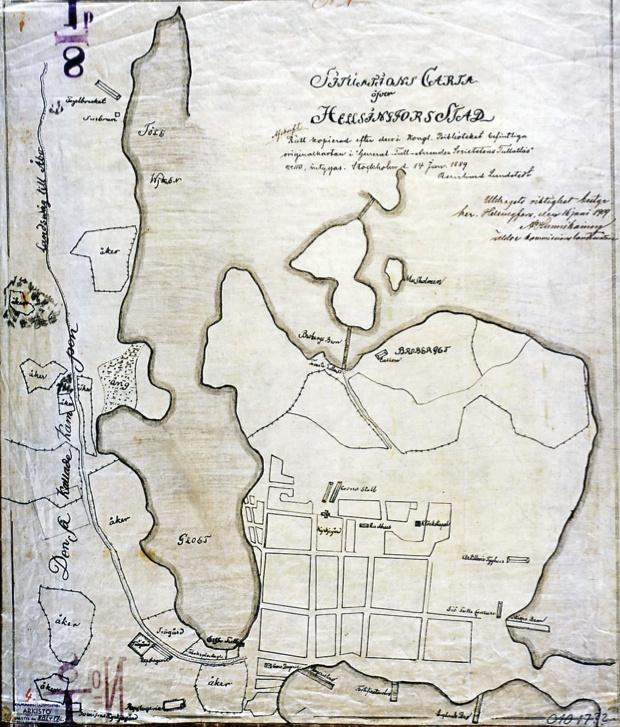 Situations Charta öfver Helsingfoes stad. Kopio 1889; kuvannee 1700-luvun loppua. Lähde: sinettiarkisto.hel.fi