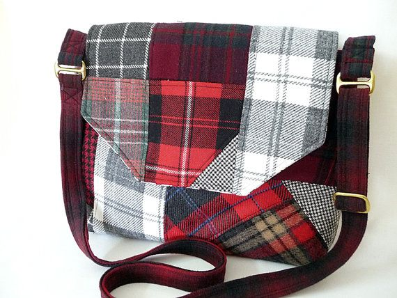 Scrappy Patchwork Plaid Wool Messenger Style Bag