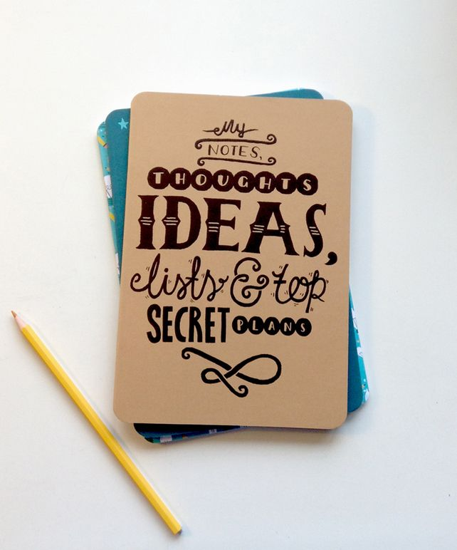 A5 Blank Notebook - My notes, thoughts, ideas, lists & top secret plans, by The Happy Pencil via Folksy, £2.70