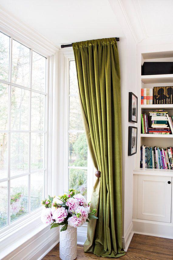 Best 25 green curtains ideas on pinterest emerald green for 108 window treatments