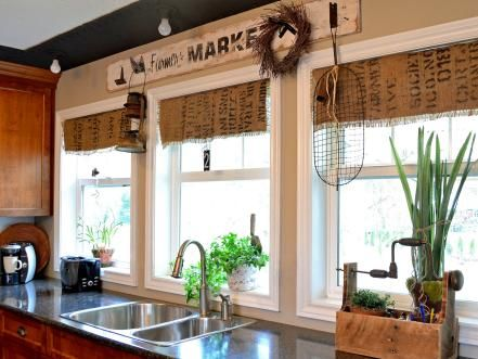 When Donna of Funky Junk Interiors needed a window topper in her kitchen, she turned to an inexpensive and unexpected material — burlap coffee sacks that she embellished with stenciled typography. She created treatments for three windows for a grand total of $3, including hardware.