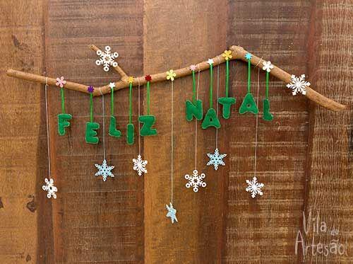 Enfeite de porta para o natal com recortes de feltro                                                                                                                                                                                 Mais