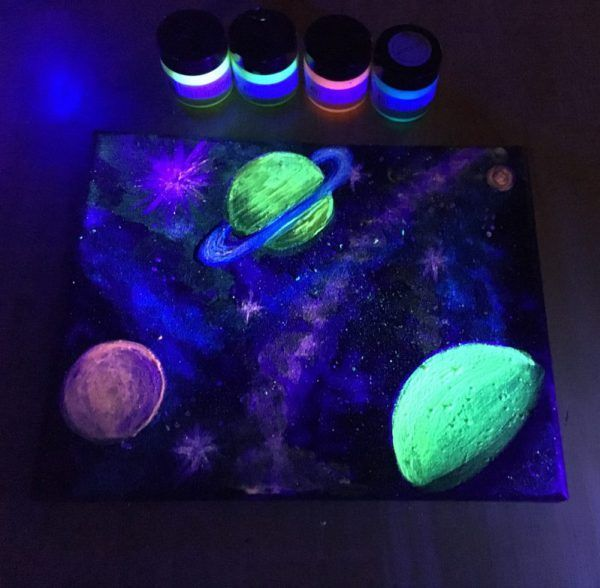 How To Paint A Galaxy Glow In The Dark Acrylic Painting Art N Glow Planet Painting Dark Paintings Galaxy Painting Acrylic