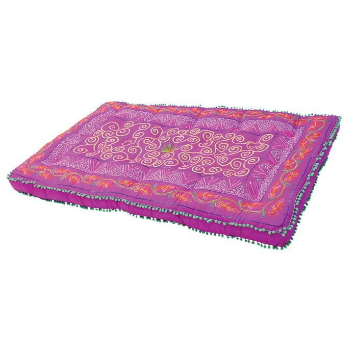 Dupioni Mattress Pillow in Fuchsia    Lounge in fashionable comfort with the delightful Dupioni Mattress Pillow. This oversized floor cushion displays a vibrant, exotic motif, perfect for stretching out on the floor, eating around the coffee table, or watching a movie with friends.    Product: Mattress pillow  Construction Material: Silk  Color: Fuchsia