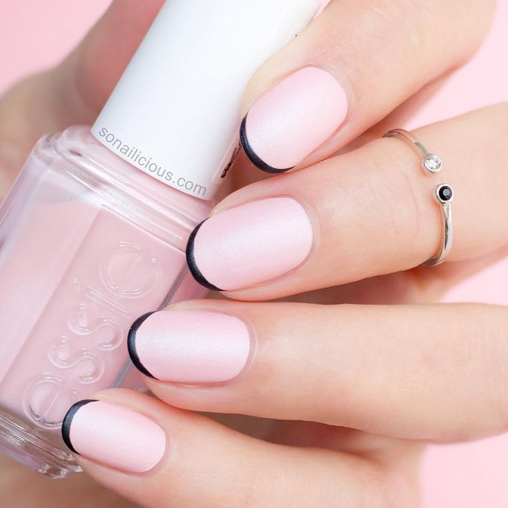 So Delicate Pink French Manicure And Dainty Midi Ring