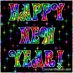 Happy New Year Rainbow Stars Image: Graphic Comment Meme or GIF