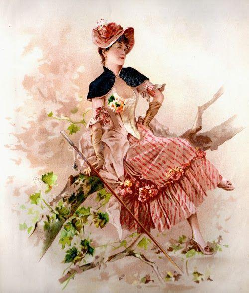 #lady #parasol #vintage #graphic #illustration #color #bizitalk