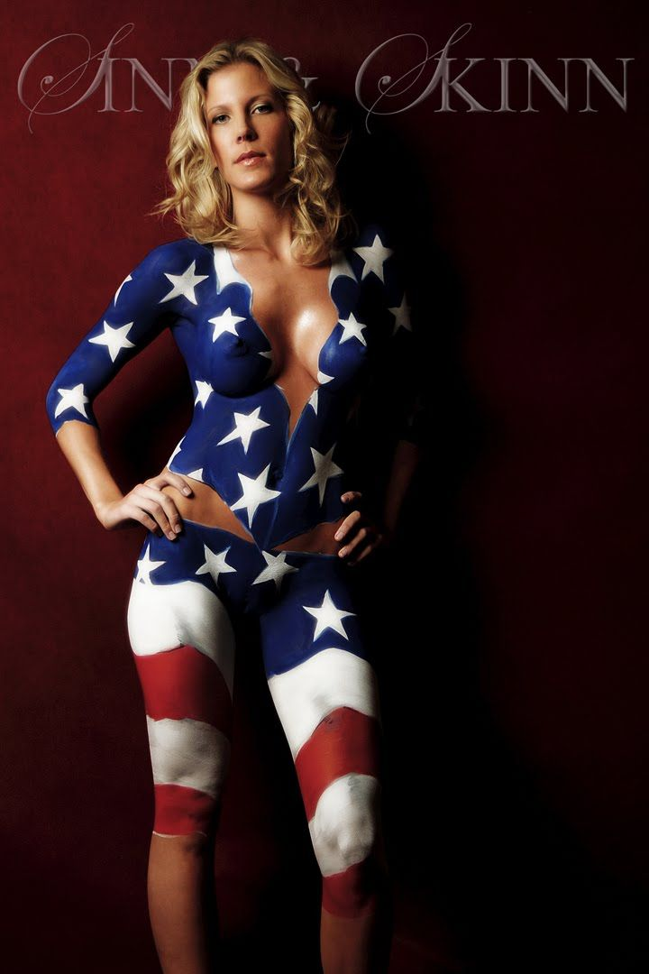 Big hot sexy women with american flag body paint