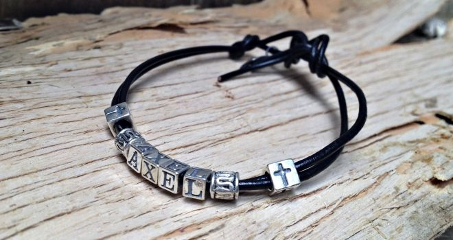 Boys Silver and Leather Name Reconcilliation Bracelet.  Find it at www.giftedmemoriesjewellery.com.au