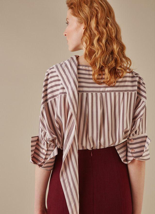 Camisa de rayas con cuello envolvente - Camisas y blusas | Adolfo Dominguez shop online