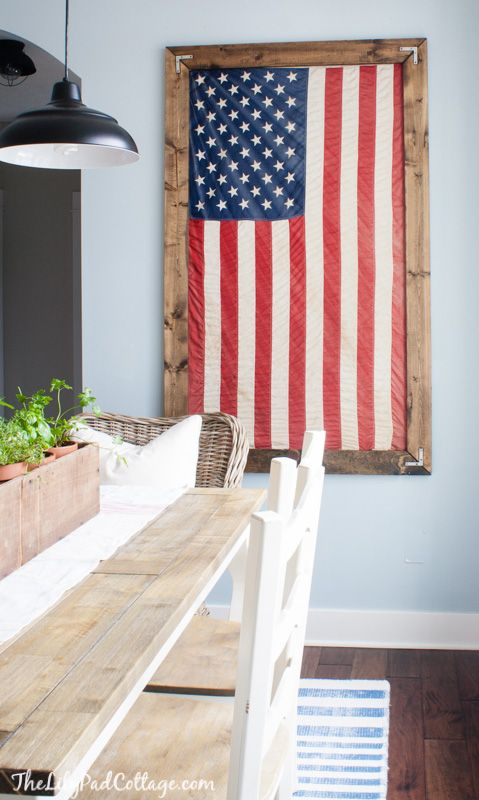 Use reclaimed wood to frame Old Glory...