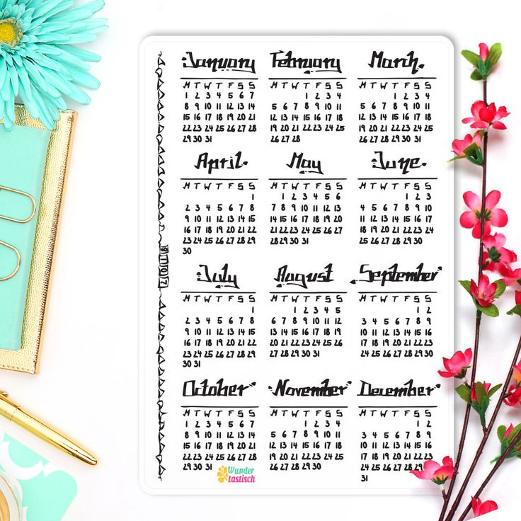Year at a Glance • Calendar 2018 • Bullet Journal Stickers • Yearly Calendar • Yearly Planner • Calendar Sticker • Handdrawn Sticker von WundertastischDesign auf Etsy https://www.etsy.com/de/listing/529450385/year-at-a-glance-calendar-2018-bullet