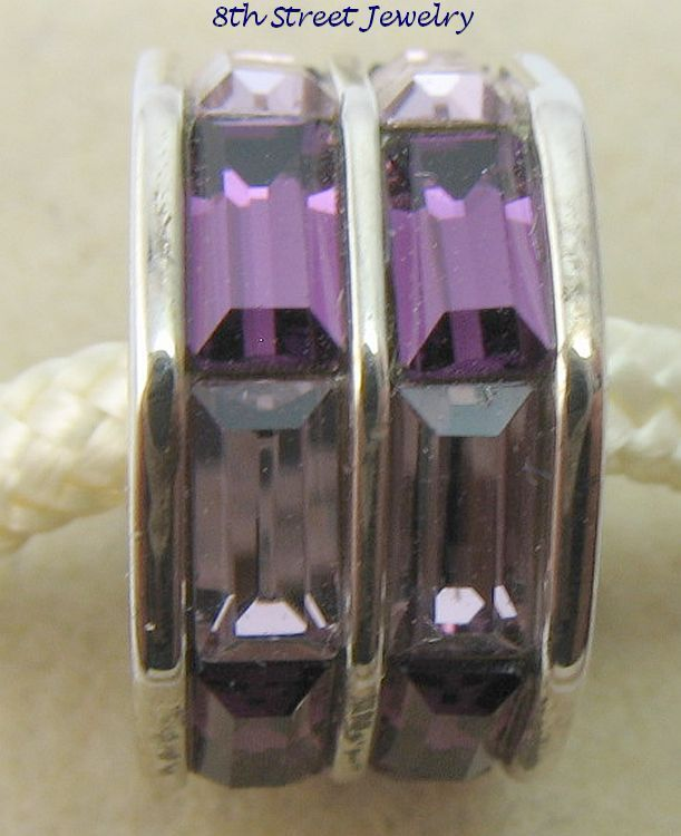 NEW Chamilia Charm Bead Sterling Silver 925 Double Baguette - Purple 2083-0402 #Chamilia #European