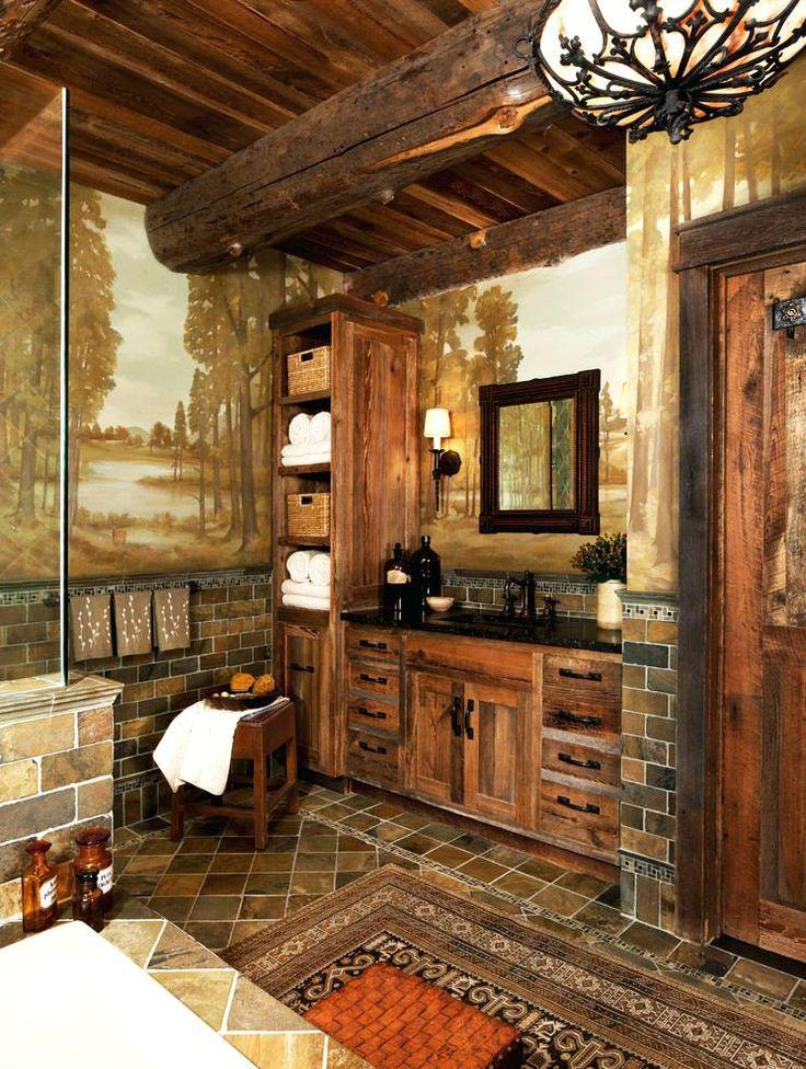 rustic+bathrooms | Bathroom Accessory Set Wooden » kazmik.co