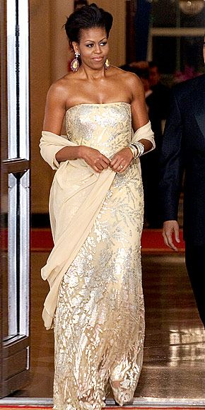 Michelle Obama's 10 Best Gowns.  Naeem Kahn worn to State Dinner for Indian Prime Minister in 2009.