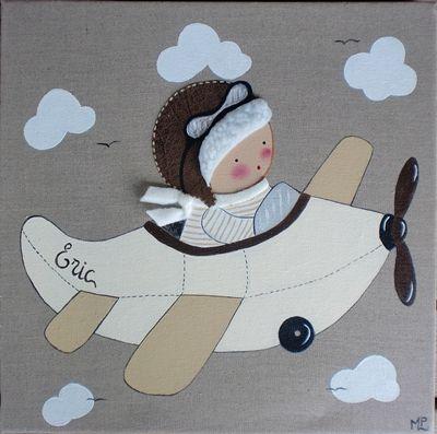 Cuadro niño con avión