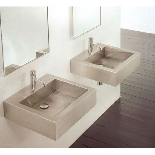 Cantrio Koncepts MS 005 Square Stainless Steel Wall Mounted Sink
