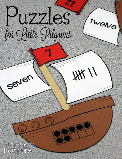 Pilgrim or pirates math puzzles to 20. Such a fun, hands-on math activity during November Thanksgiving time or during a pirate unit! Kindergarten and beginning first grade students practice with number recognition, number words, tally marks, and ten frames.