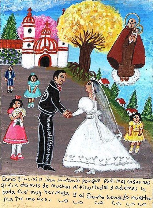 Благодарим Святого Антония, так как после многих трудностей мы смогли пожениться. К тому же наша свадьба вышла очень красивой, и святой благословил наш брак.