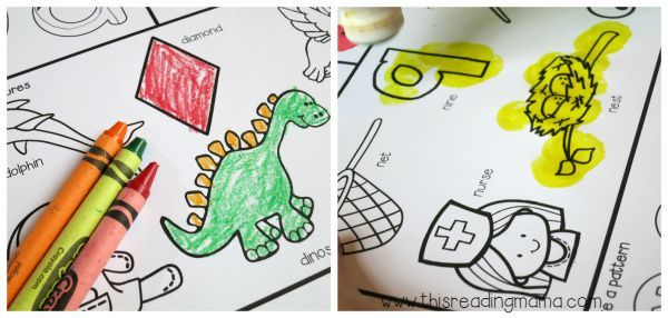 color or paint the pictures on alphabet worksheets