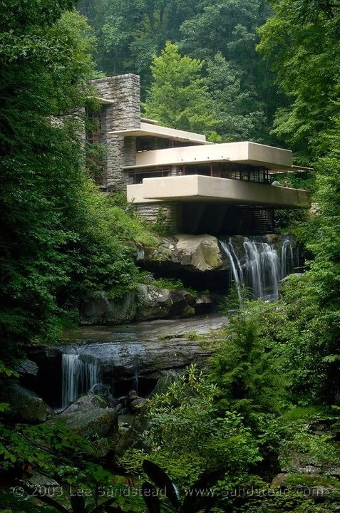 Frank Lloyd Wright's Falling Water. Fallingwater or Kaufmann Residence is a house designed by architect Frank Lloyd Wright in 1935 in rural southwestern Pennsylvania, 43 miles (69 km) southeast of Pittsburgh. The home was built partly over a waterfall on Bear Run in the Mill Run section of Stewart Township, Fayette County, Pennsylvania, in the Laurel Highlands of the Allegheny Mountains.Beautiful!