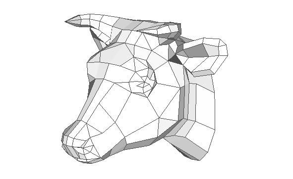 cattle head wall hanging free papercraft download