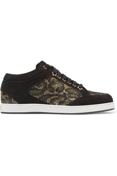 Jimmy Choo - Miami Lace-paneled Suede Sneakers - Black - IT40.5
