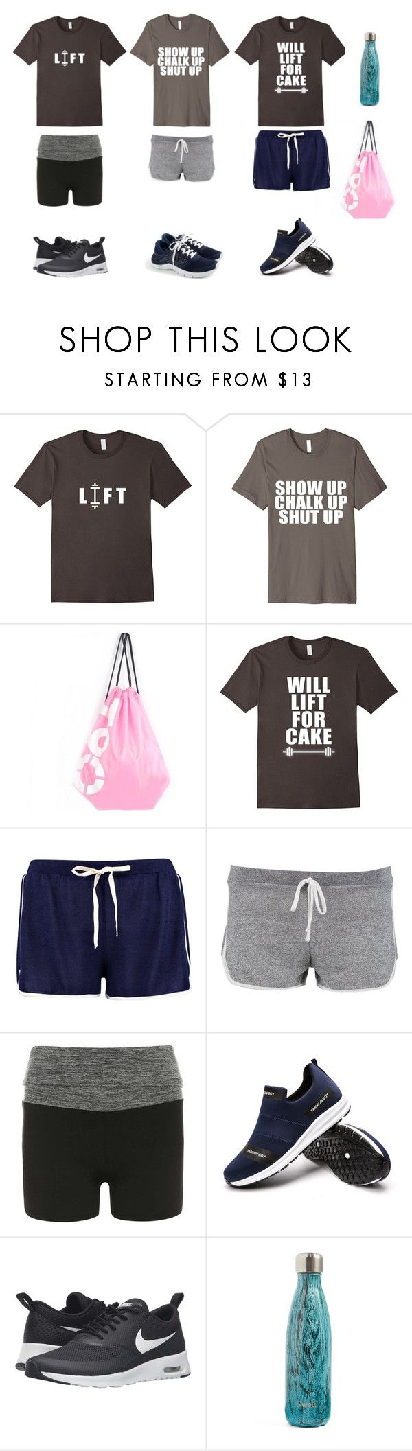 """""""my fav gym shirts"""" by bookworm528 ❤ liked on Polyvore featuring Boohoo, Dorothy Perkins, NIKE, S'well and New Balance"""
