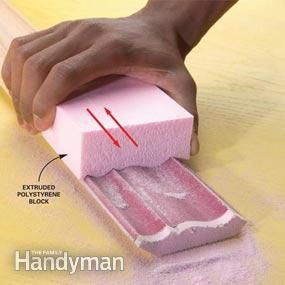 Make a custom sanding block to speed up sanding of complex shapes