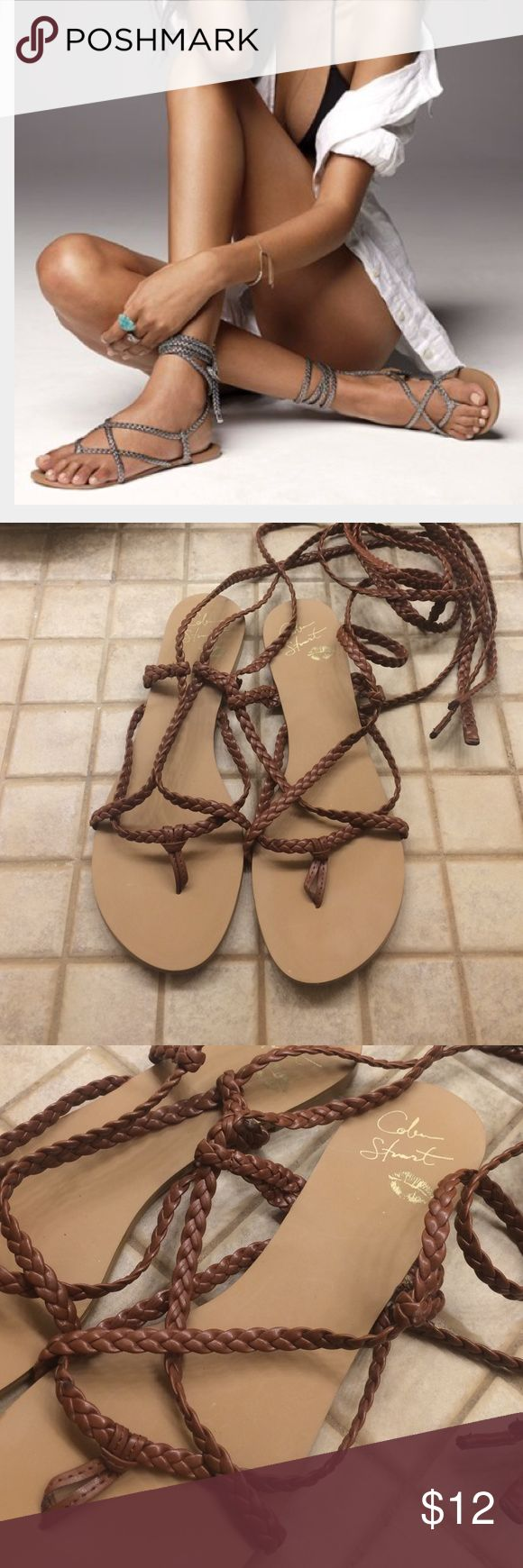 Colin Stuart Wrap Sandals Colin Stuart wrap sandals from Victoria's Secret in cognac (brown). Brand new in box never worn! Colin Stuart Shoes Sandals