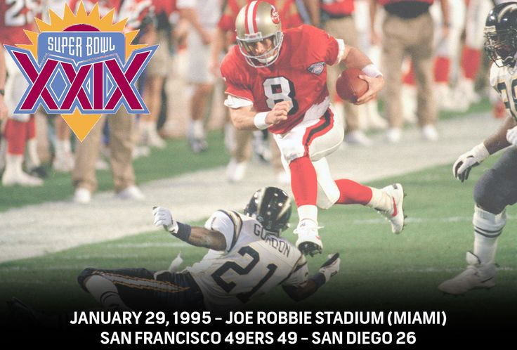 Super Bowl XXIX - San Francisco 49ers - 49 - San Diego Chargers 26  #NBCSports