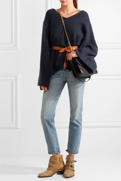 Chloé - Susanna Studded Watersnake Ankle Boots - Sand