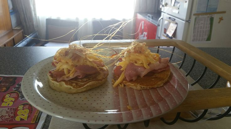 """My version of the great, Jake the dog's """"Bacon Pancakes"""".. Topped with cheddar and caramelised onions"""