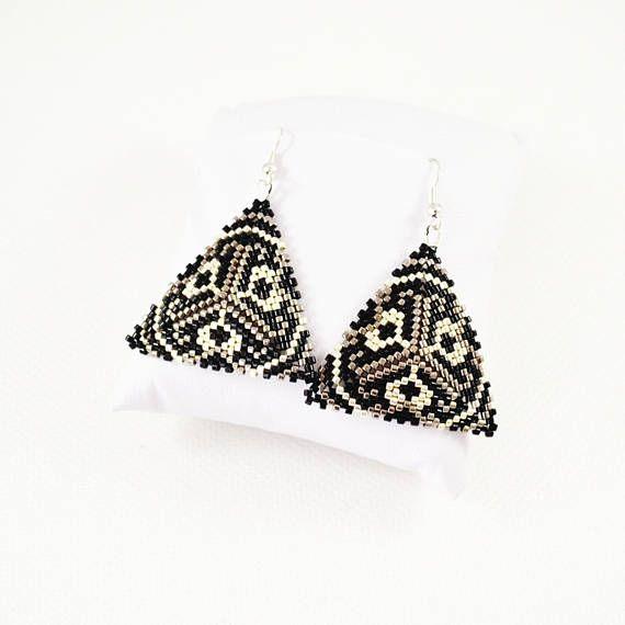 Metallic Black silver triangles earrings Woven earrings Seed