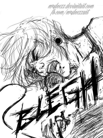 www.fb.com/m4dnezzart Blegh   #music #hardcore #blegh #shout #sketch #digital #drawing #sai