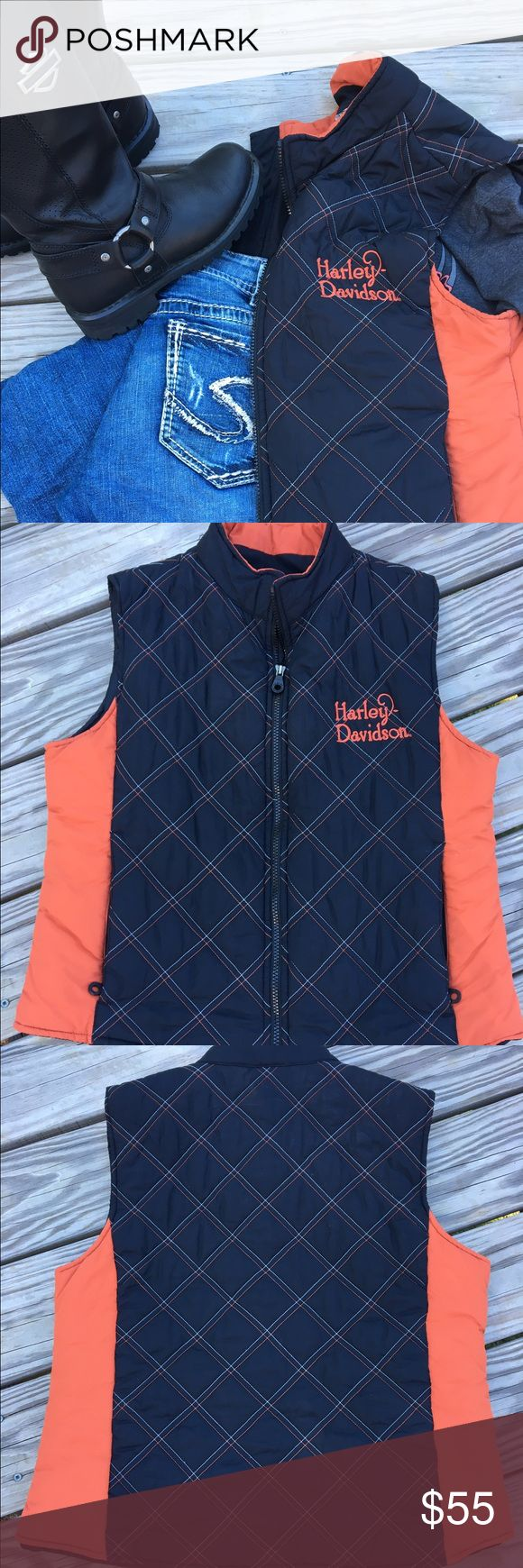 🌟30% BUNDLE SALE🌟 Authentic Harley-Davidson vest Look great in this quilted vest 🌟 wear your favorite long sleeve shirt under it 🌟 zipper front 🌟 zipper pocket on each side 🌟 no flaws 🌟 traditional Harley orange/black 🌟 pet/smoke free home Harley-Davidson Jackets & Coats Vests