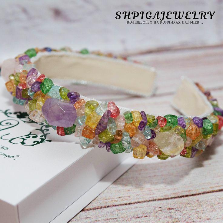 "hair tie bracelet, hair jewelry, hair accessories, headband, princess tiara with natural stones ""Herbs"" by OlgaShpiga on Etsy"