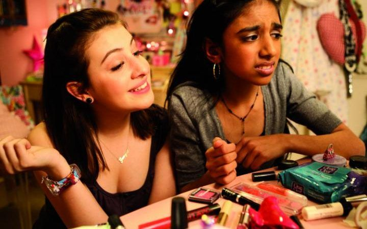 Georgia Groome and Manjeevan Grewal in the film adaptation Angus, Thongs and Perfect Snogging