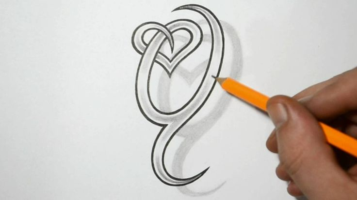 Letter Q and Heart Combined - Tattoo Design Ideas for Initials