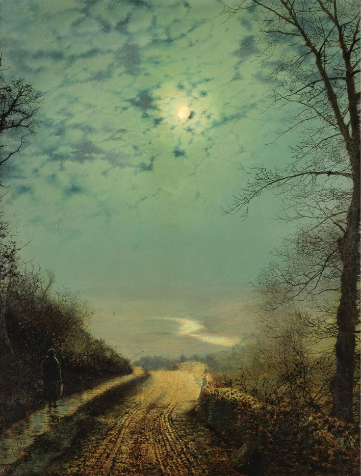 John Atkinson Grimshaw - A Wet Road by Moonlight, Wharfedale, 1872 (1515х1998)